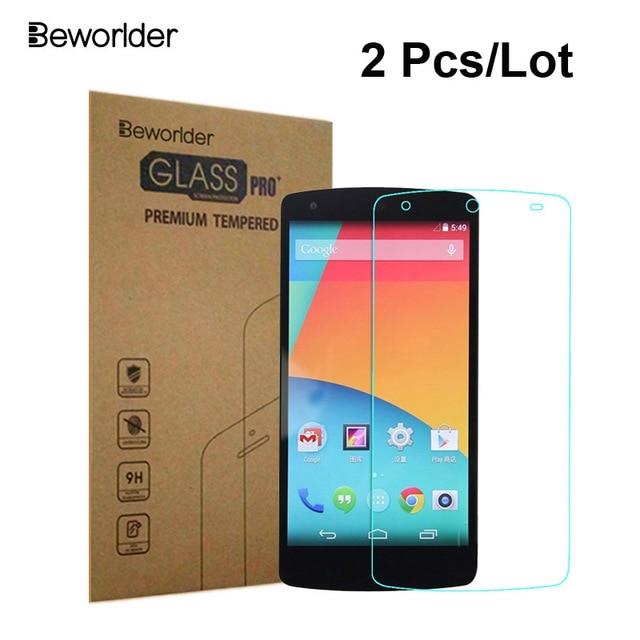 620851ca04b Beworlder Vidrio Templado Para LG Google Nexus 5 Caja Al Por Menor 2  Unids/lote