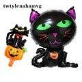 Новинка, черные, кошачьи, зеленые волосы, брендовые, счастливые, Хэллоуин, вечерние, грандиозные украшения, фольга, воздушный шар, тыква, приз...