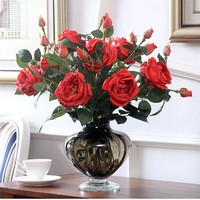 אדום-קצף גדול עלה מגע אמיתי עלה פרח הבית אדמונית דליה פרחים מלאכותיים פרחים לחתונה מלון מסיבת אירוע משלוח חינם