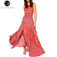 Lily Rosie Girl Women Fashion Sleeveless Maxi Long Dress Boho Print Summer Beach Backless Femme Dresses