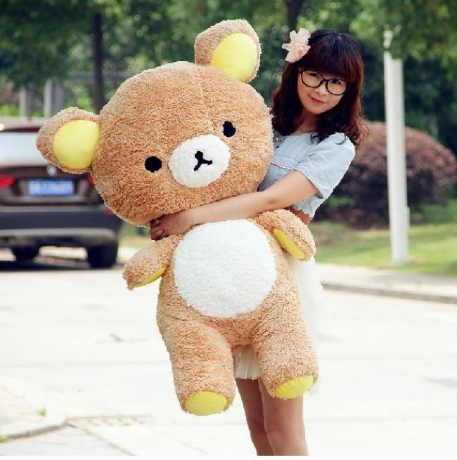110 cm San-x Rilakkuma bear plush toy bear doll throw pillow surprised gift  w5188 стоимость