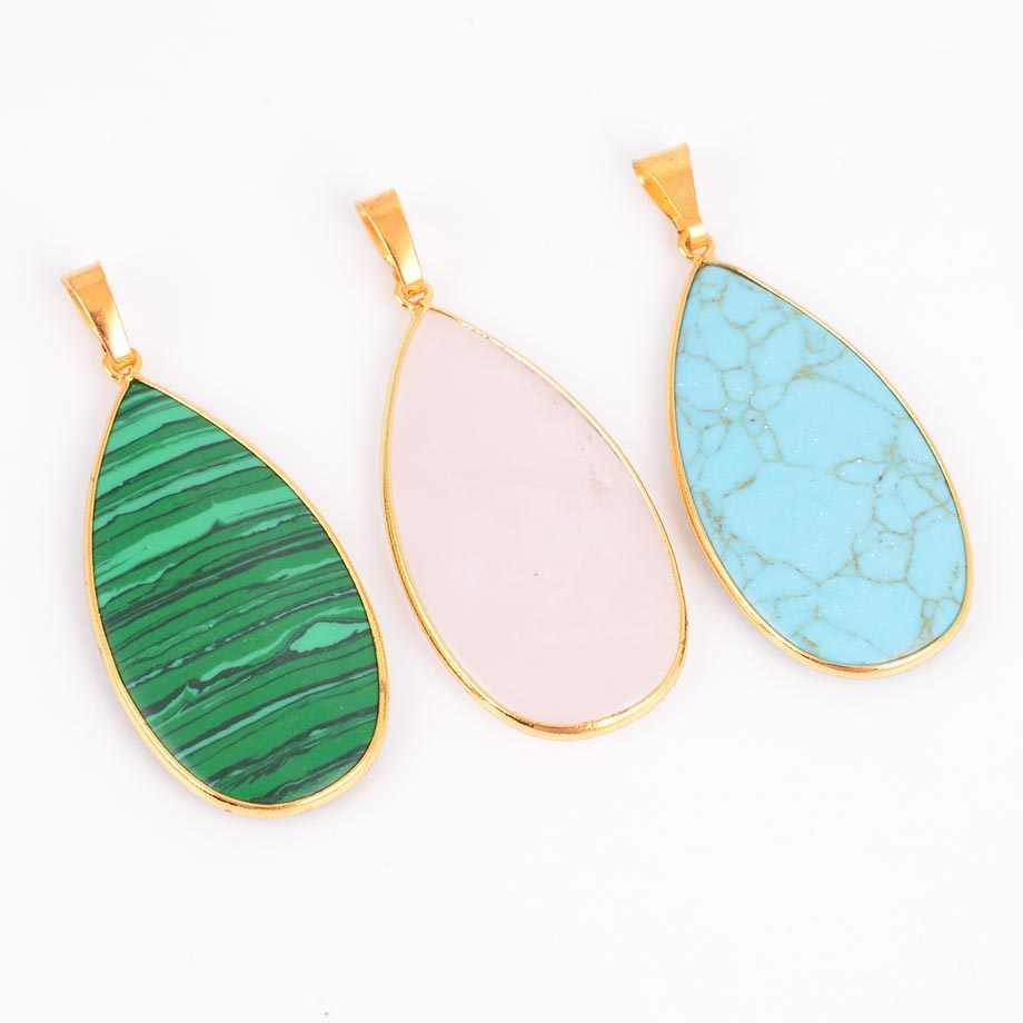 レイキチャクラナチュラル宝石石ブルーストーン水滴の形のネックレス & ペンダント女性のための治癒ジュエリー D415--D423