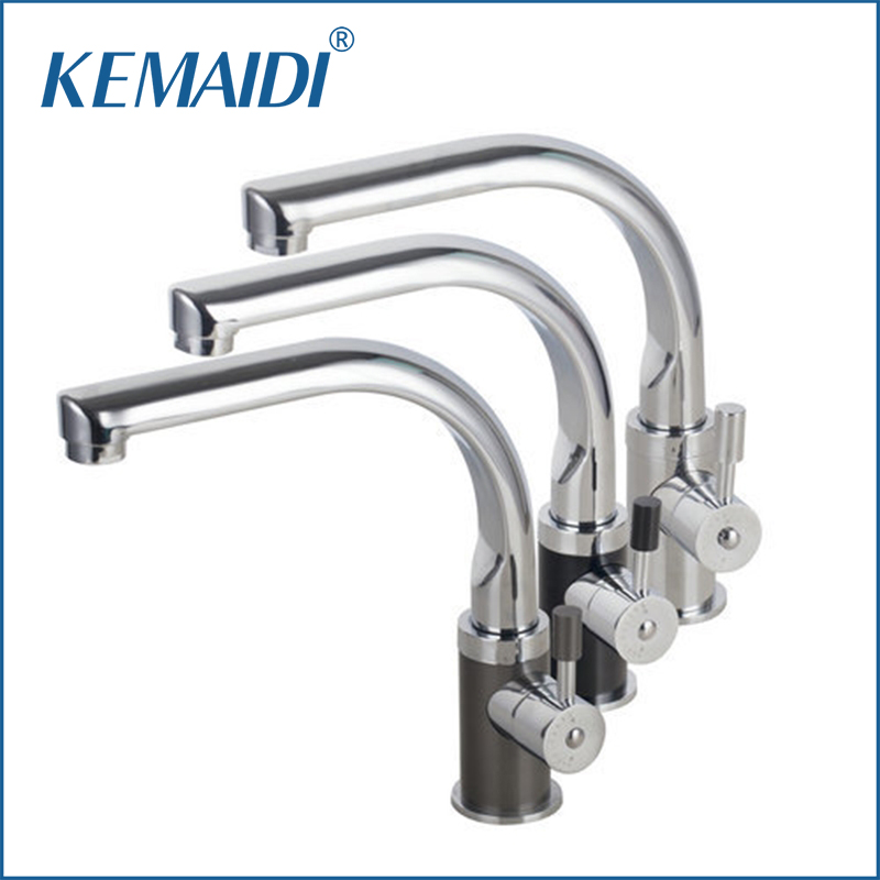 KEMAIDI  Kitchen Sink Faucets Chrome Gray Black Deck Mounted Chrome Swivel 360 Bathroom Faucet Deck Mounted Basin Mixer Tap