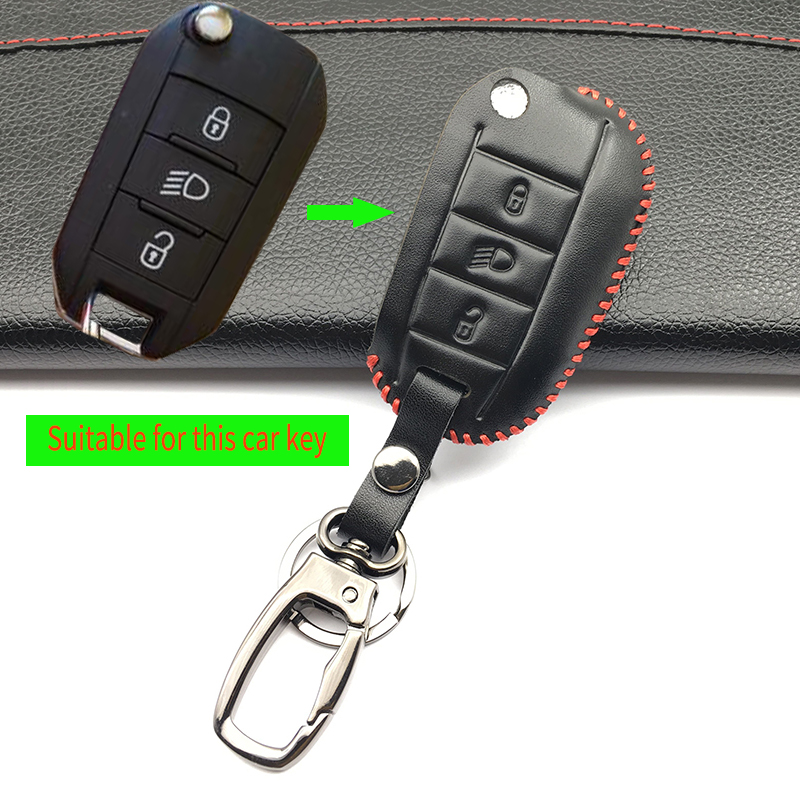 Key fob Leather case cover skin shell cover for Peugeot 3008 208 308 508 408 2008 RCZ 407 307 4008 remote keyless flip protecte
