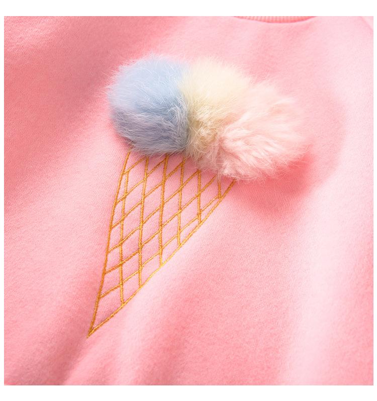 Cute Ball Ice Cream Girls Sweatshirt Autumn Winter Thick Warm Kids Sweatshirts for Girl O-neck Long Sleeve Children Top Clothing 9