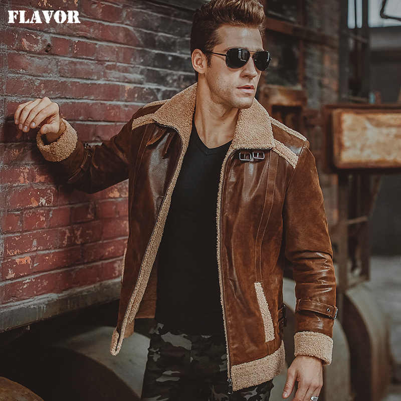 347ba8b1503 Men's real leather jacket motorcycle pigskin Genuine Leather faux fur  shearling jackets winter warm bomber coat