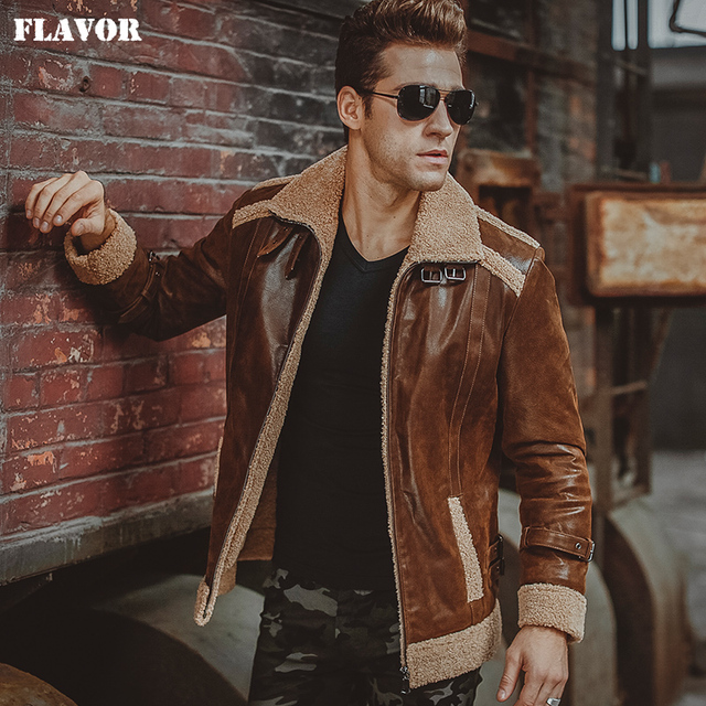 Uomo giacca di pelle vera moto pelle di cinghiale del Cuoio Genuino della  pelliccia del faux df8f8884d55