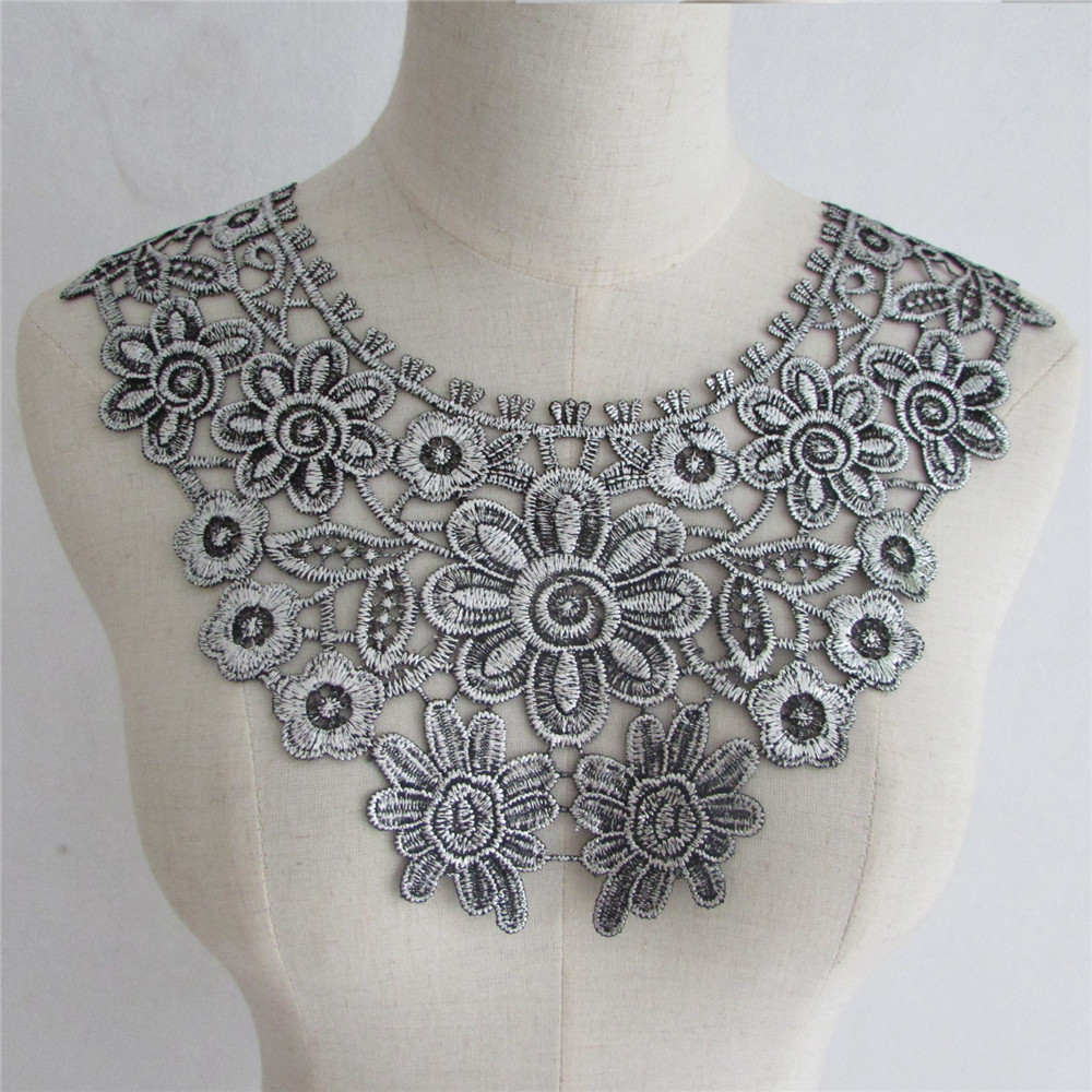 Новый стиль серебро вышивка цветок кружева декольте Ткань DIY кружевной воротник Швейные Craft декольте украшения 1 шт. продать YL703