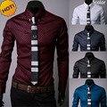 New2016 Мода Осень рубашка С Длинным Рукавом camisa masculina Темные Зерна решетки Алмаза Горячий Стиль кардиган мужской Одежды рубашки