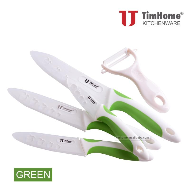 """Juego de cuchillos de cocina Timhome Zirconia originales Juego de cuchillos de cerámica 3 """"4"""" 5 """"6"""" pulgadas + Peeler"""