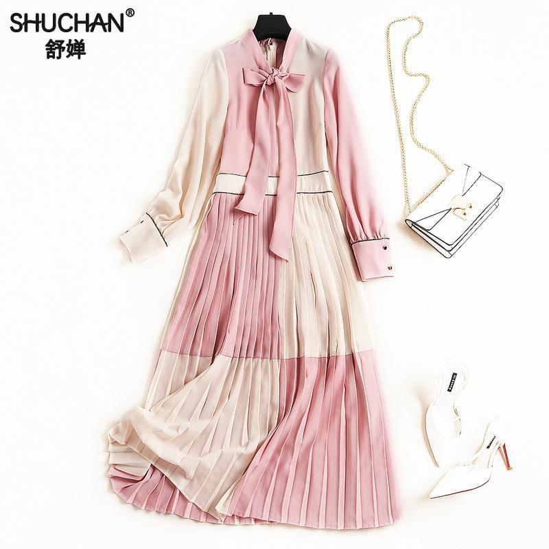 Shuchan милое розовое платье Плиссированное клетчатое платье до середины икры с галстуком бабочкой Новое поступление 2019 дизайнерские женские