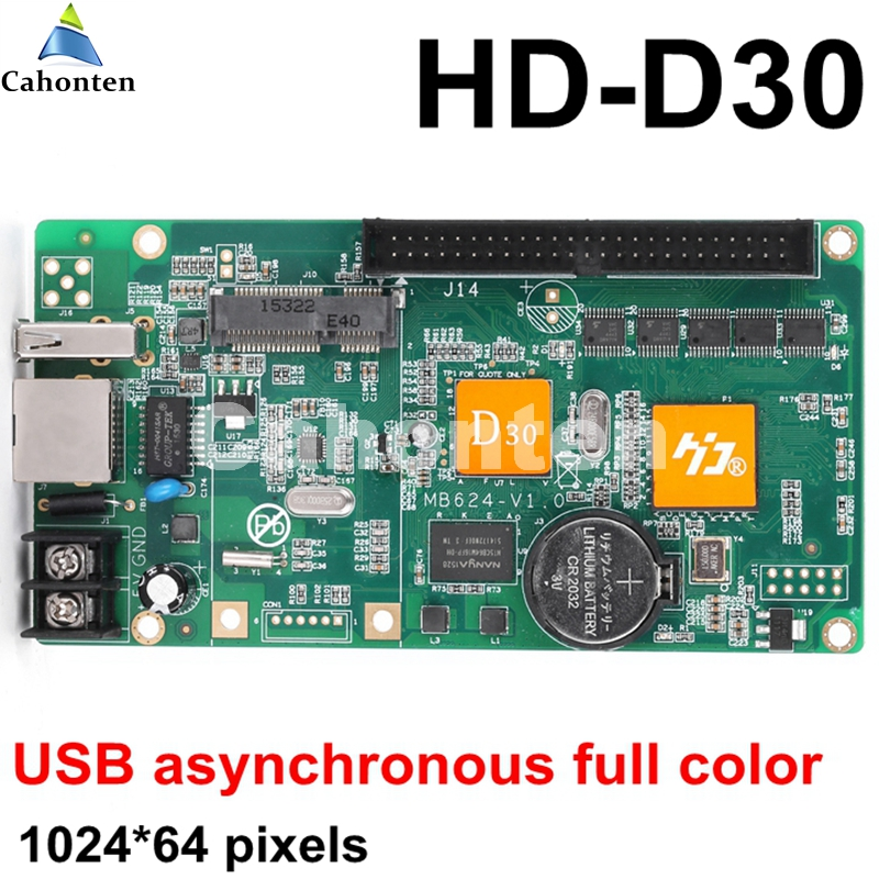 HD-D30 USB asynchronous full color led screen control card 1024*64 pixels rgb U-disk port video controller for lintel display bx 6q3 usb and ethernet port lintel full color led control card asynchronous video led sign controller 384 1024 512 768pixels