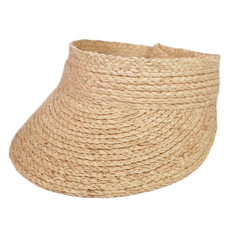 2019 Simple Ladies Uv Roll Up Korean Sun Visor Hat Women Sun Visor Straw Raffia Sun Visor Caps Straw Visor