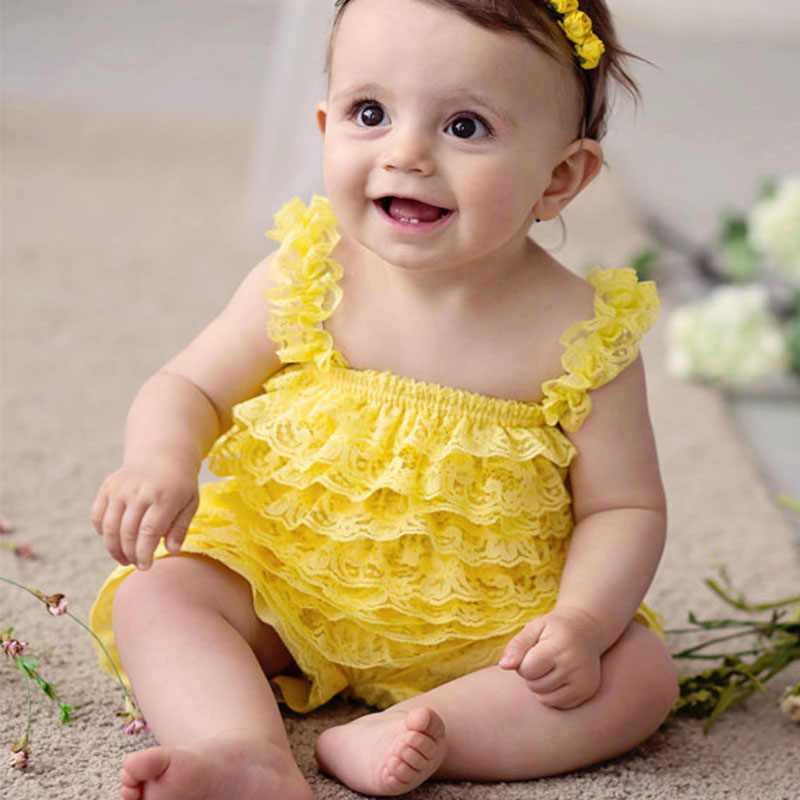 0876294e645 Cute Girls Clothing Baby Yellow Lace Rompers Toddler Infant Jumpsuits  Ruffle Romper Baby Birthday Party Outfit