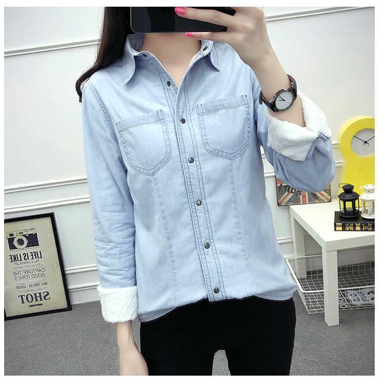 Новая осенне-зимняя женская хлопковая фланелевая теплая утепленная блуза с длинным рукавом и карманом джинсовая рубашка повседневные фланелевые Топы больших размеров