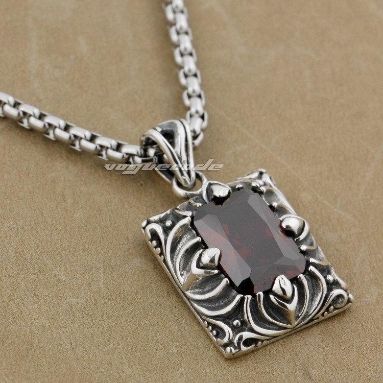 Square Red CZ Stone 925 Sterling Silver FLEUR DE LIS Fashion Pendant 9J026(Necklace 24inch) цена и фото