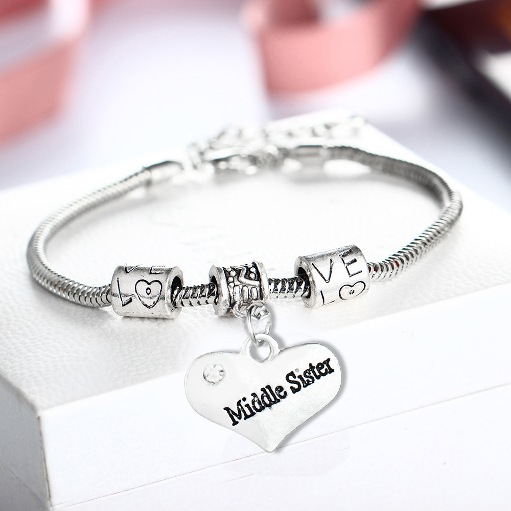 Love Heart Middle Sister Sis Crystal Bracelets Family Women Femme Girl Gift Rhinestone Bangles Statement Jewelry Wristband