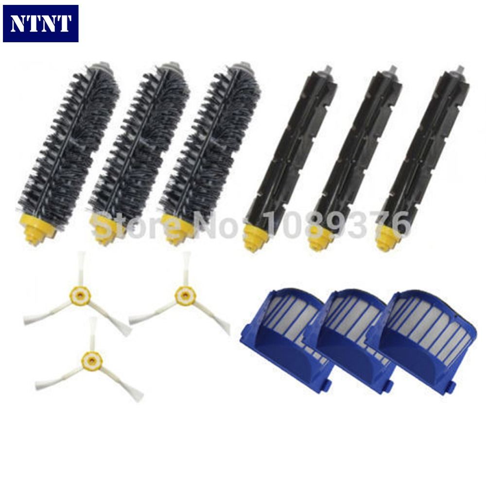 NTNT Free Post New Brush 3 armed Aero Vac Filter kit for iRobot Roomba 600 Series 620 630 650 660