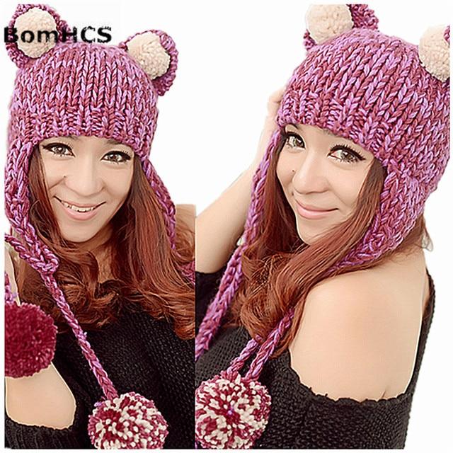 BomHCS Bonito Orelhas de Gato Engraçado Gorro com Pompons Macio Das Mulheres  Mornas do Inverno Artesanal 0116580d69e