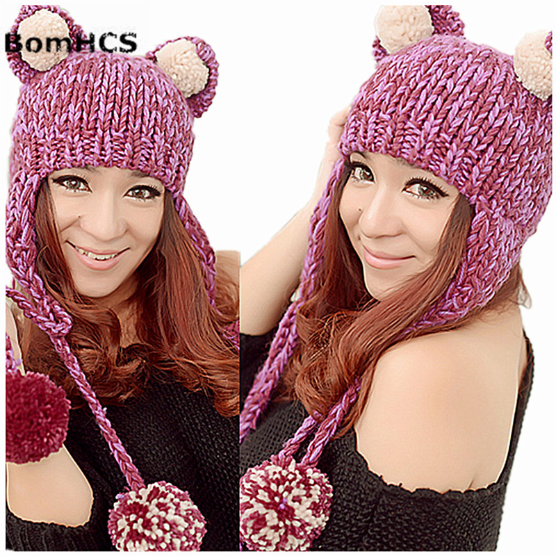 5fc19c8e167 BomHCS Cute Cat Ears Funny Beanie with Soft Pompoms Women Winter Warm  Handmade Knitted Hat Cap
