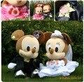 Amantes del vestido de boda de MICKEY muñeca de peluche de juguete de decoración de coches de boda regalo de boda, Regalo de Los Cabritos