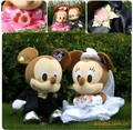 Wedding dress lovers MICKEY doll plush toy wedding car decoration wedding gift,Kids Gift
