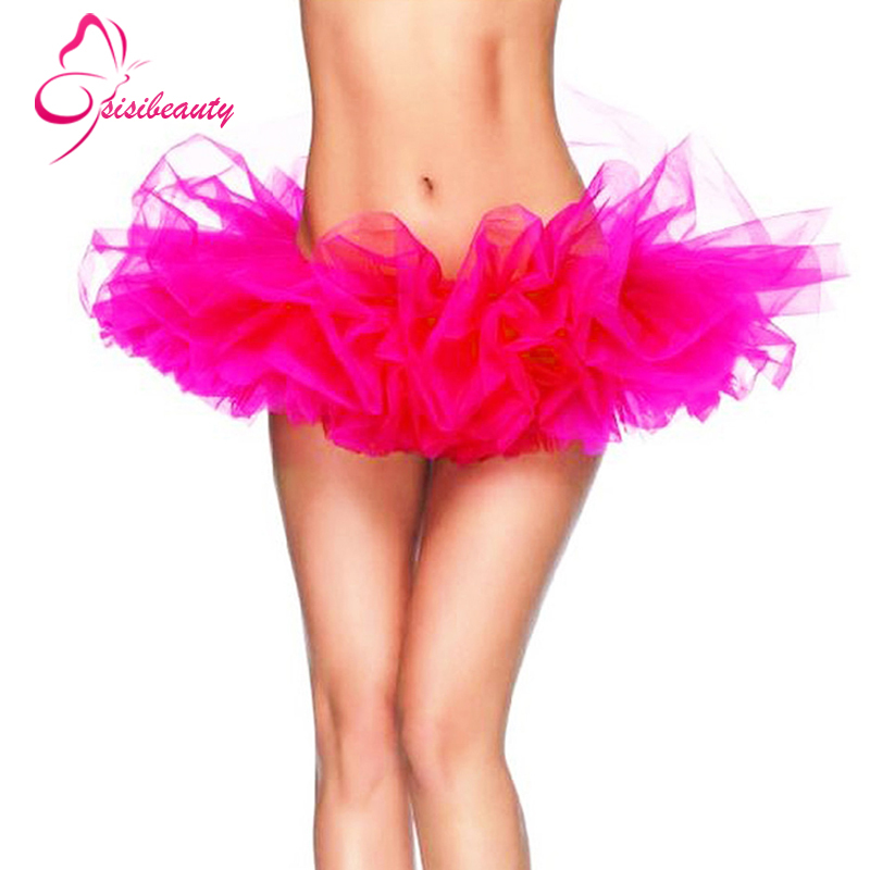 Womens Tulle Tutu Skirt 13 Colors Sexy Mini Petticoat Fluffy 6 Layers Yarn Ballet Skirt For Lady adult tulle skirt