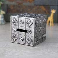 Metal Square coin saving box metal bank money storage box money piggy bank for kids Ancient tin color for home decorative SNG064