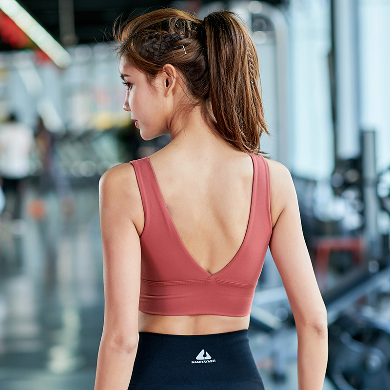 Women Fitness Yoga Running Bra Quickly Dry Backless Yoga Tank Crop Top Sweatshirt Jogging Casual Workout Athletc Bra Sportswear in Sports Bras from Sports Entertainment