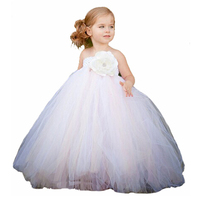 White Mix Ivory With Lace Elegant Flower Girl Dress For Wedding Dance Birthday Evening Tutu Dress