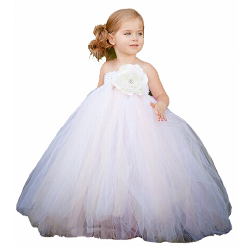 New Arrival 2T-8Y White Mix Ivory Ankle-Length Flower Girl Tutu Dress For Wedding Birthday Party photograph new white ivory nice spaghetti straps sequined knee length a line flower girl dress beautiful square collar birthday party gowns