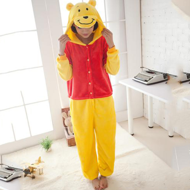 Winnie the Pooh de Franela Pijamas Hombres Mujeres Siamés Animal de Dormir Adultos Kids Warm Capucha Familia Equipada Invierno Animal Pijamas