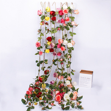 Handmade Rose 153CM Artificial Rose Flower Ivy Vine Wedding Decor Silk Fake Flowers String for Home Hanging Garland 8 Colors