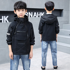 Image 4 - Children outerwear teenager trench coats boys coats and jackets letter printed boys hooded Windproof kids jacket windbreaker