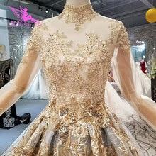 AIJINGYUแขนยาวมุสลิมชุดแต่งงานWhere To Shopสำหรับชุดไขมันชุดรถไฟผู้หญิง2021 2020 Amazing Wedding Gowns