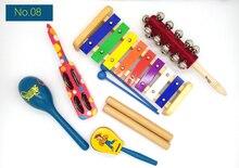 купить BIG SALE 6pc new musical instruments toy set wooden percussion instruments for baby preschool kids music rhythm educational дешево
