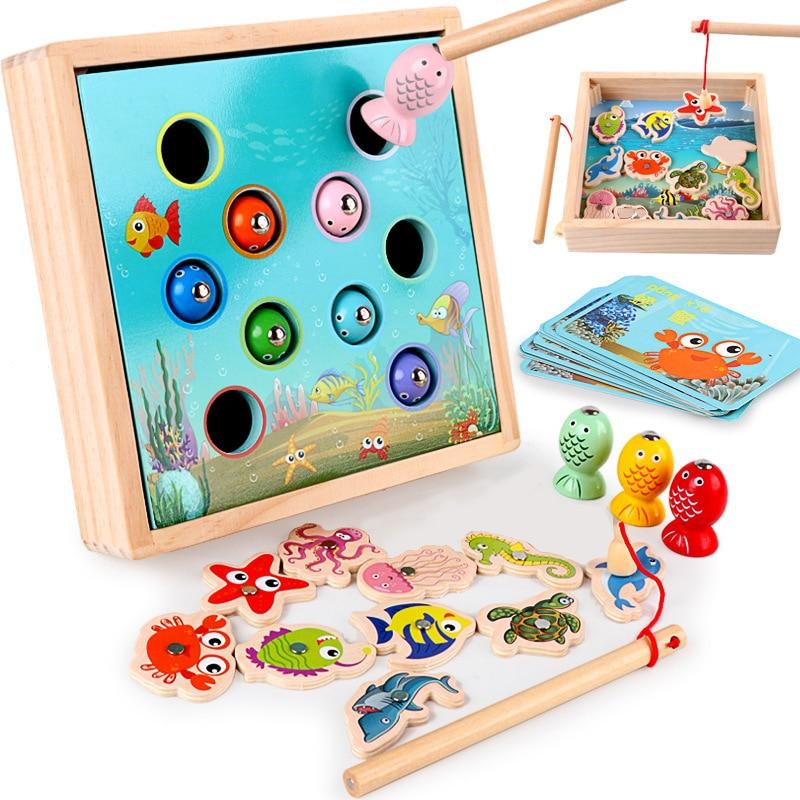 Enfants jouets en bois jeux magnétiques pêche jouet jeu enfants 3D poisson bébé enfants jouets éducatifs en plein air drôle garçons fille cadeaux