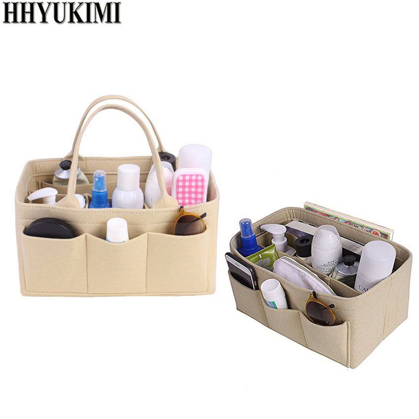 HHYUKIMI Felt Cloth Insert Storage Bag Organizer Makeup Organizer Multi-Pocket Travel Insert Portable Women Cosmetic Storage Bag