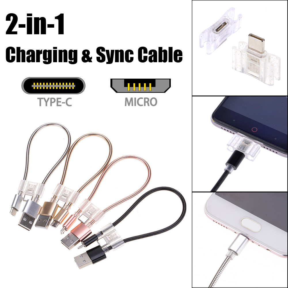 Top Quality 2 in 1 Micro USB & Type C to Type A Sync And Fast Charge Cable Cord For MacBook usb charger usb adapterdrop shopping