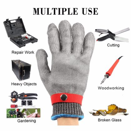 Free Shipping Safety Gloves Cut-Proof Stab Resistant Work gloves Kitchen Stainless Steel Metal Mesh Butcher 1pcs safety gloves cut proof stab resistant stainless steel wire metal mesh butcher anti knife