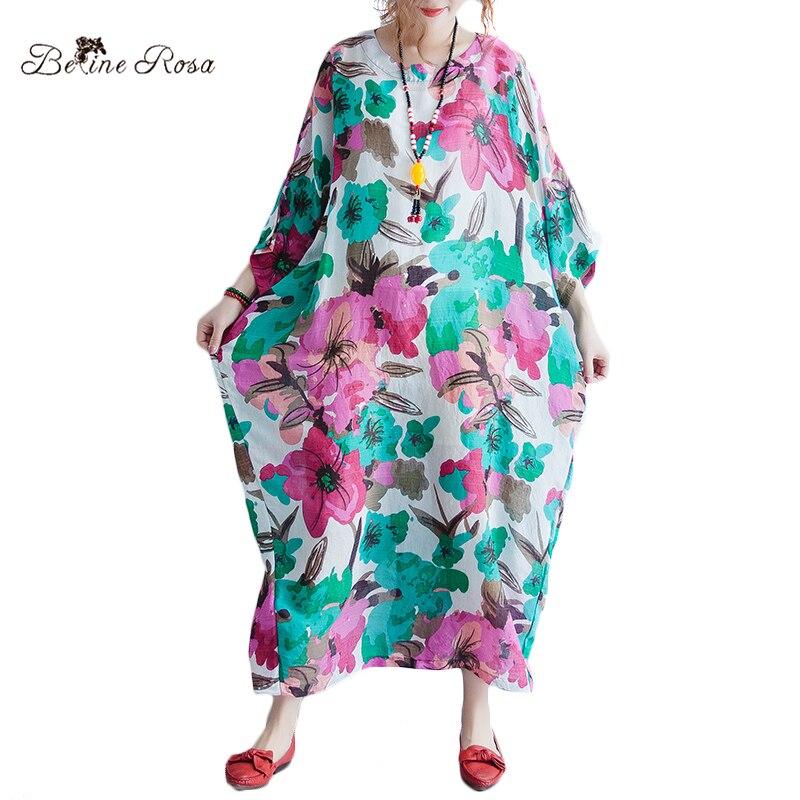 BelineRosa 2018 Womens Big Sizes Dresses Big Flower Raglan Sleeve Summer Style Printing Maxi Dresses HS000524