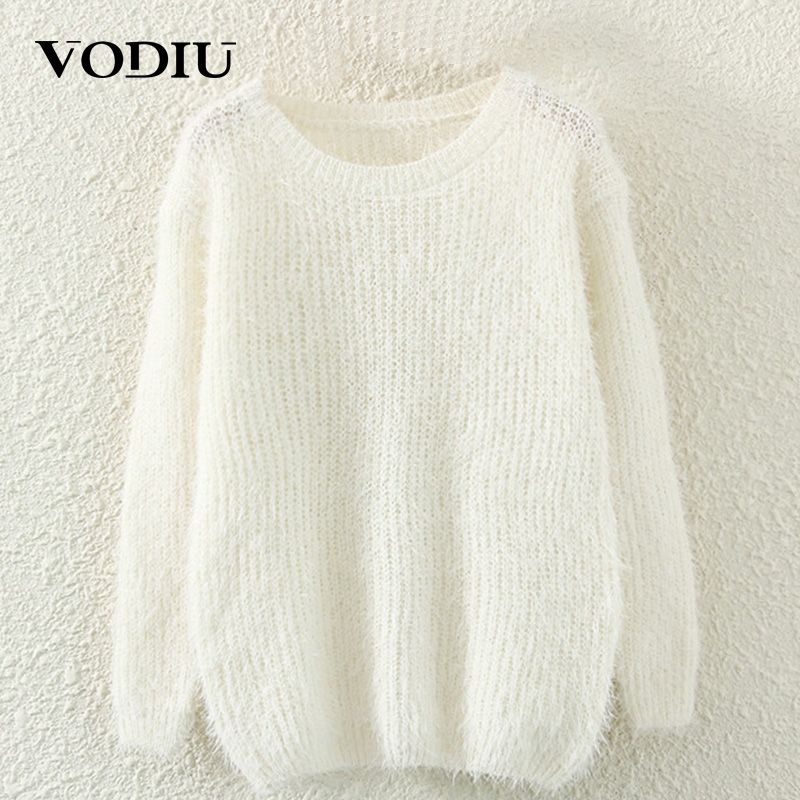 Sweater Female Winter Woman Sweater Mohair Pullover Long Sleeve Solid Knitting Solid Casual Fashion New Year Cheap Hot Sale Top