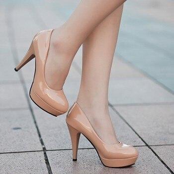 Mulheres Bombas de Moda Clássico Couro Envernizado Salto Alto Sapatos Nude Afiada Cabeça Paltform Mulheres Se Vestem Sapatos de Casamento Plus Size 34 -42