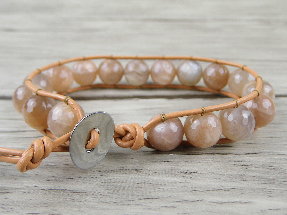 Sunstone beads wrap bracelet single wrap leather bracelet Chic Boho bead bracelet Yoga jewelry
