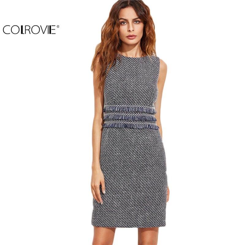 Colrovie tweed vaina navy dress con detalle de cinta fringe otoño bodycon dress