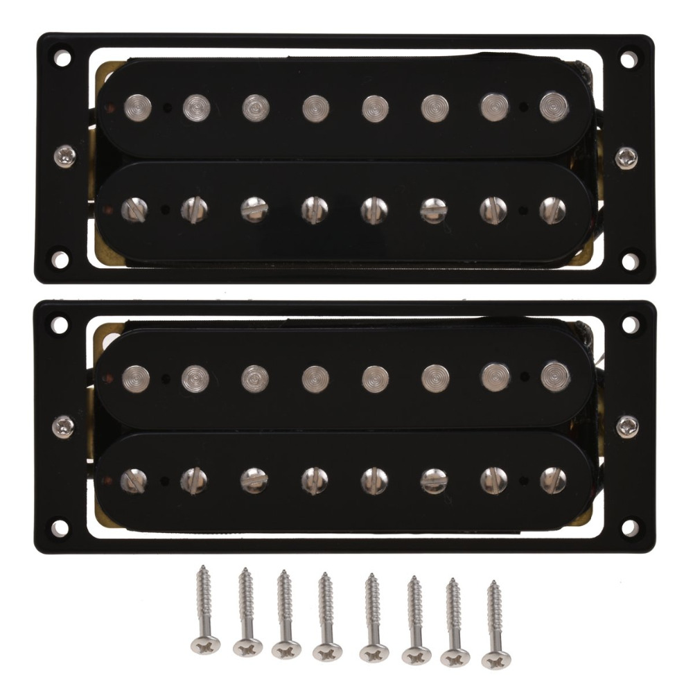 Humbucker Pickups Set Bridge and Neck for <font><b>8</b></font> <font><b>String</b></font> Electric <font><b>Guitar</b></font> <font><b>Parts</b></font> Passive Black image