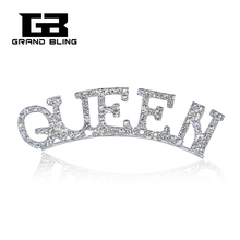 FREE SHIPPING!!! Clear Rhinestone Silver Plated Lapel Pin QUEEN Word