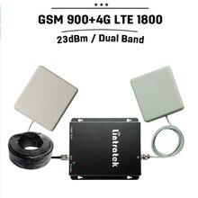 GSM 4G Repetidor GSM 900 4g Lte 1800 de Doble Banda Móvil 70dB de Ganancia Teléfono Celular de Refuerzo Repetidor de señal Celular Amplificador de Antena Set