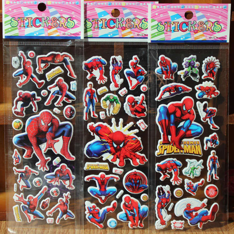 New 10pcs/lot Cartoon Stickers  the Avengers  Spiderman Stickers Kids Educational Toys  for boys