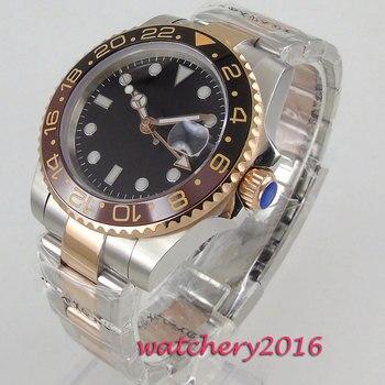 цена 40mm Sterile Dial Ceramic Bezel Sapphire Glass GMT Luminous Mechanical Watches relogio masculino Gift Automatic men's Watch онлайн в 2017 году